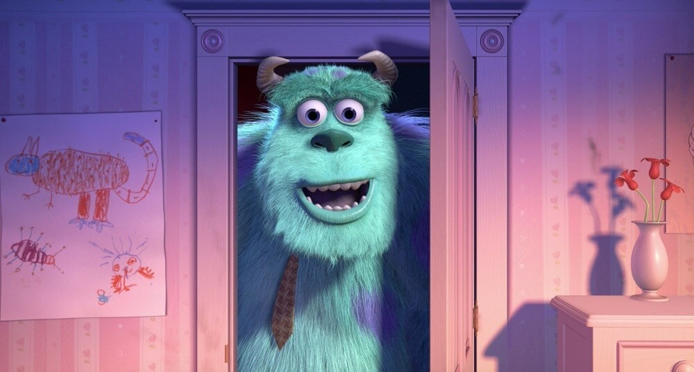 "Sully coming through a door in the animated movie ""Monsters, Inc."""