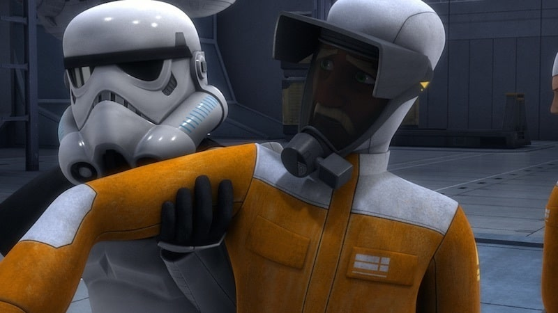 Morad Sumar being apprehended by Stormtroopers