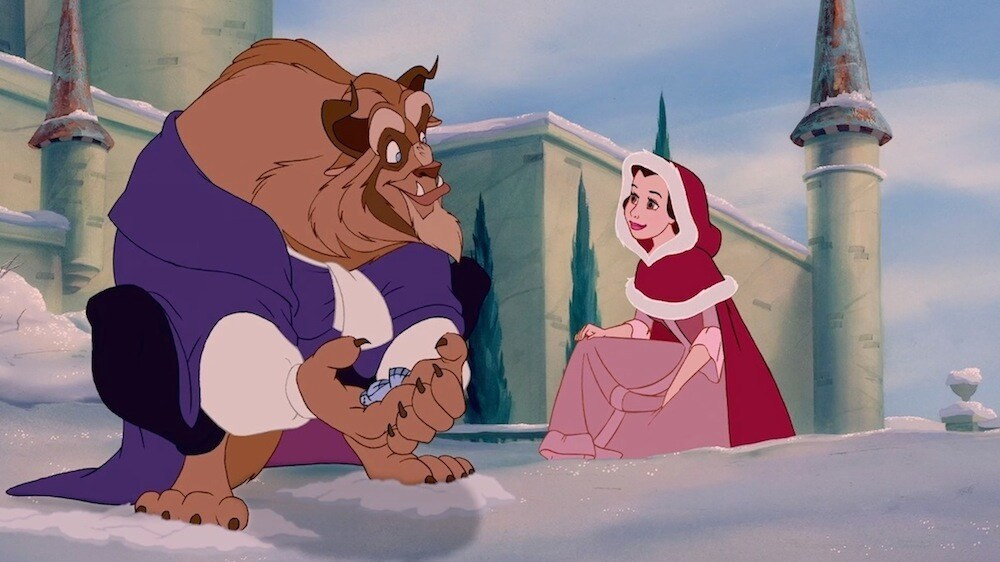 "Beast and Belle in the snow from the animated film ""Beauty and the Beast"""