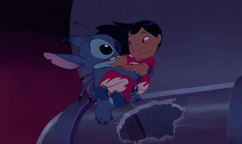 Animated character Stitch holding Lilo