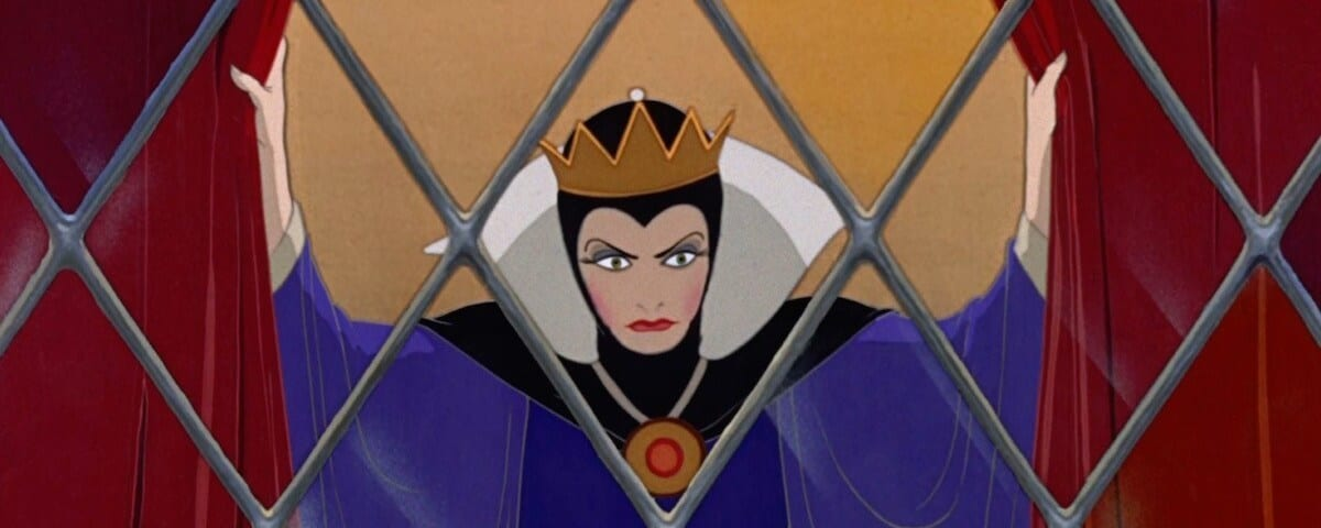 "The evil queen looking out a window from the animated movie ""Snow White and the Seven Dwarfs"""