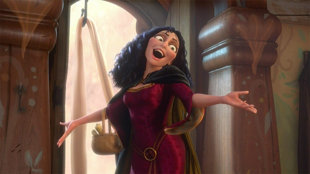 """Mother Gothel surprising Rapunzel in the animated movie """"Tangled"""""""