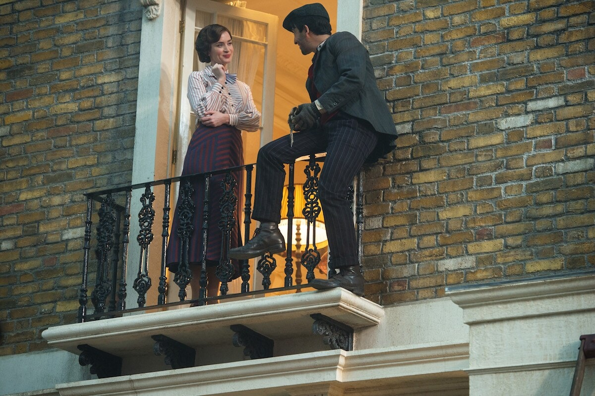 Mary Poppins and Jack outside of Banks residence on small balcony