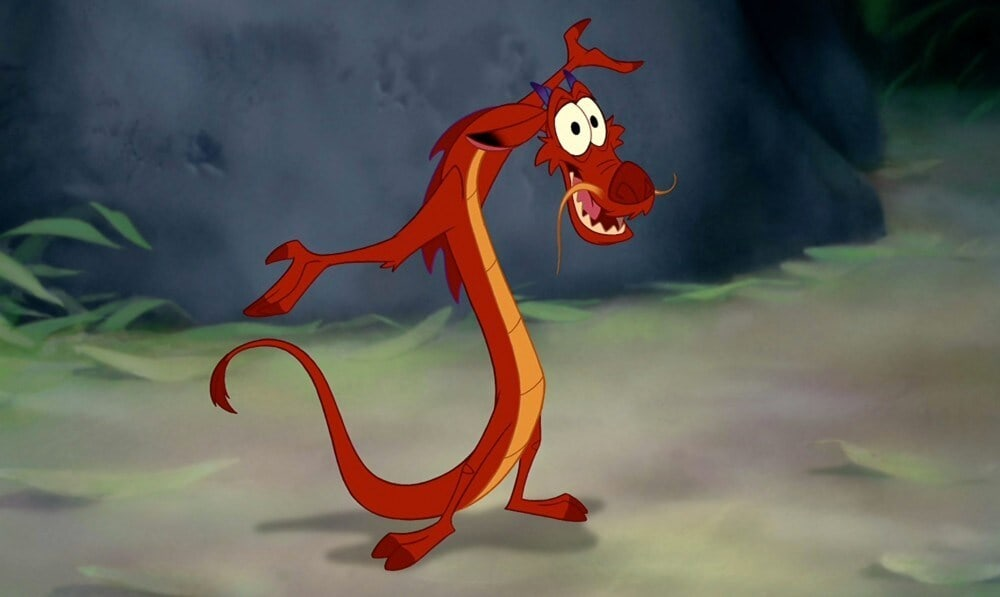 "Mushu, the dragon from the animated movie ""Mulan"""