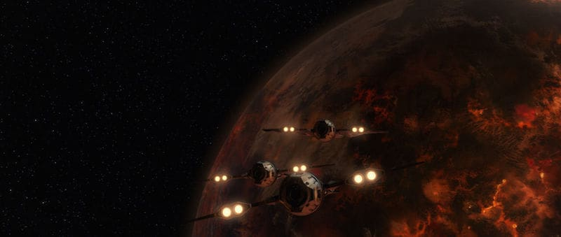 Mandalorian starfighters approaching Mustafar