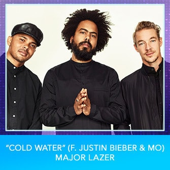 "RDMA 2017 Nominee - BEST DANCE TRACK - ""Cold Water (f. Justin Bieber & MO)"" by Major Lazer"