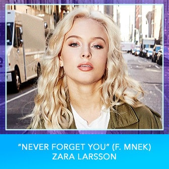 "RDMA 2017 Nominee - BEST DANCE TRACK - ""Never Forget You (f. MNEK)"" by Zara Larsson"