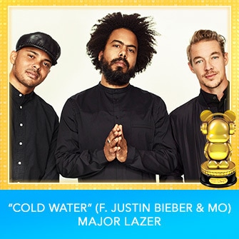"RDMA 2017 Winner - INTERNATIONAL - BEST DANCE TRACK - ""Cold Water (f. Justin Bieber & MO)"" by Major Lazer"