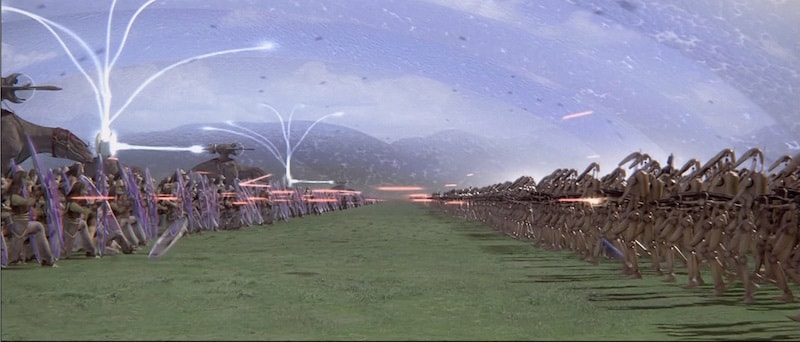 Gungan and Trade Federation Battle Droids fighting on Naboo