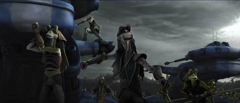 Roos Tarpals defending Naboo from Separatist forces