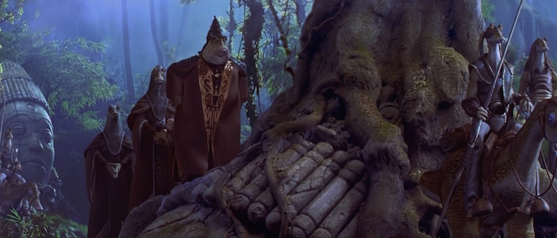 Boss Nass and the Gungan people hiding in the Gungan Sacred Place