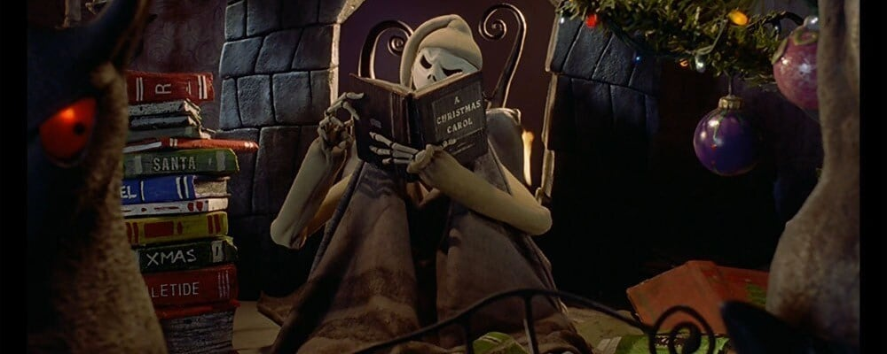"Jack Skellington reading a book in the film ""The Nightmare Before Christmas"""