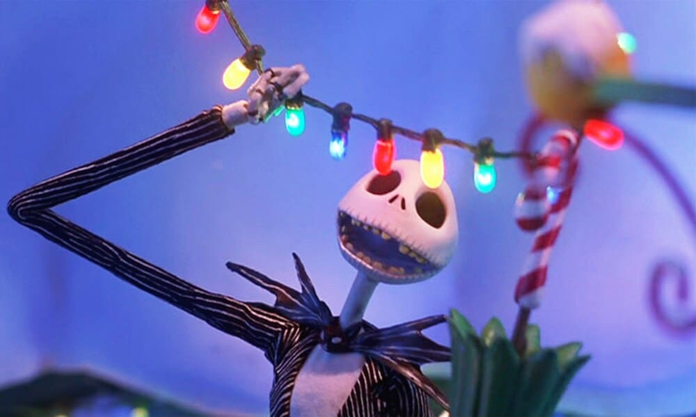 """Jack Skellington staring at Christmas lights in the movie """"The Nightmare Before Christmas"""""""
