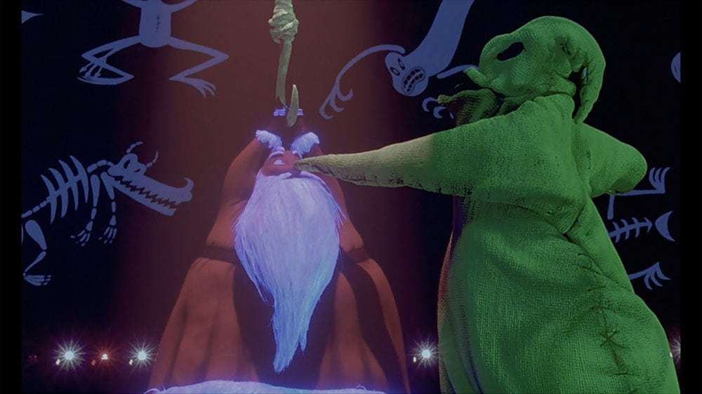 "Santa Claus and Oogie Boogie from the film ""The Nightmare Before Christmas"""