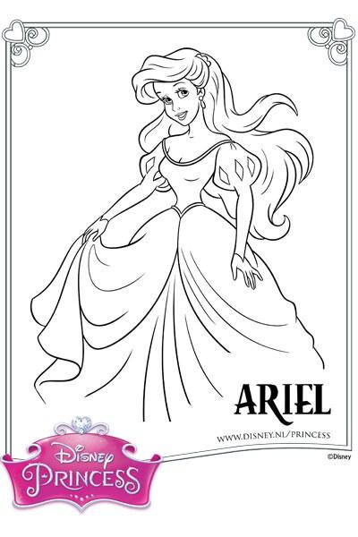 Kleurplaat Ariel in haar Baljurk