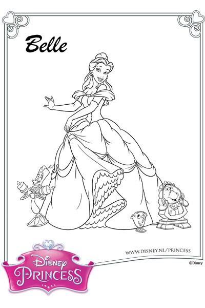 Kleurplaat Belle en haar vrienden