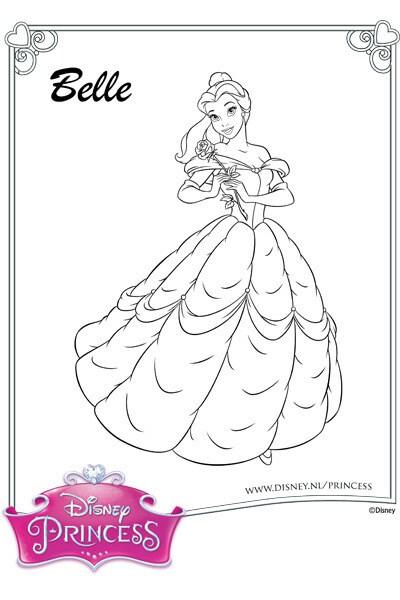 Kleurplaat Belle in haar baljurk 2