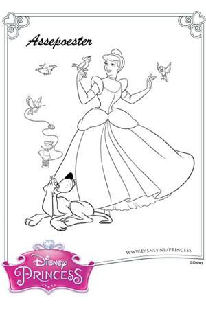 Kleurplaat Assepoester en haar vriendjes