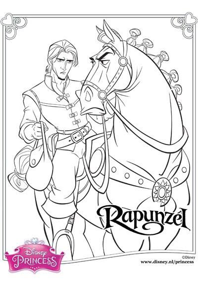 Kleurplaat Rapunzel - Flynn en Maximus