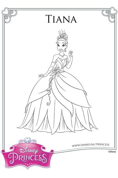 Kleurplaat Tiana in haar baljurk