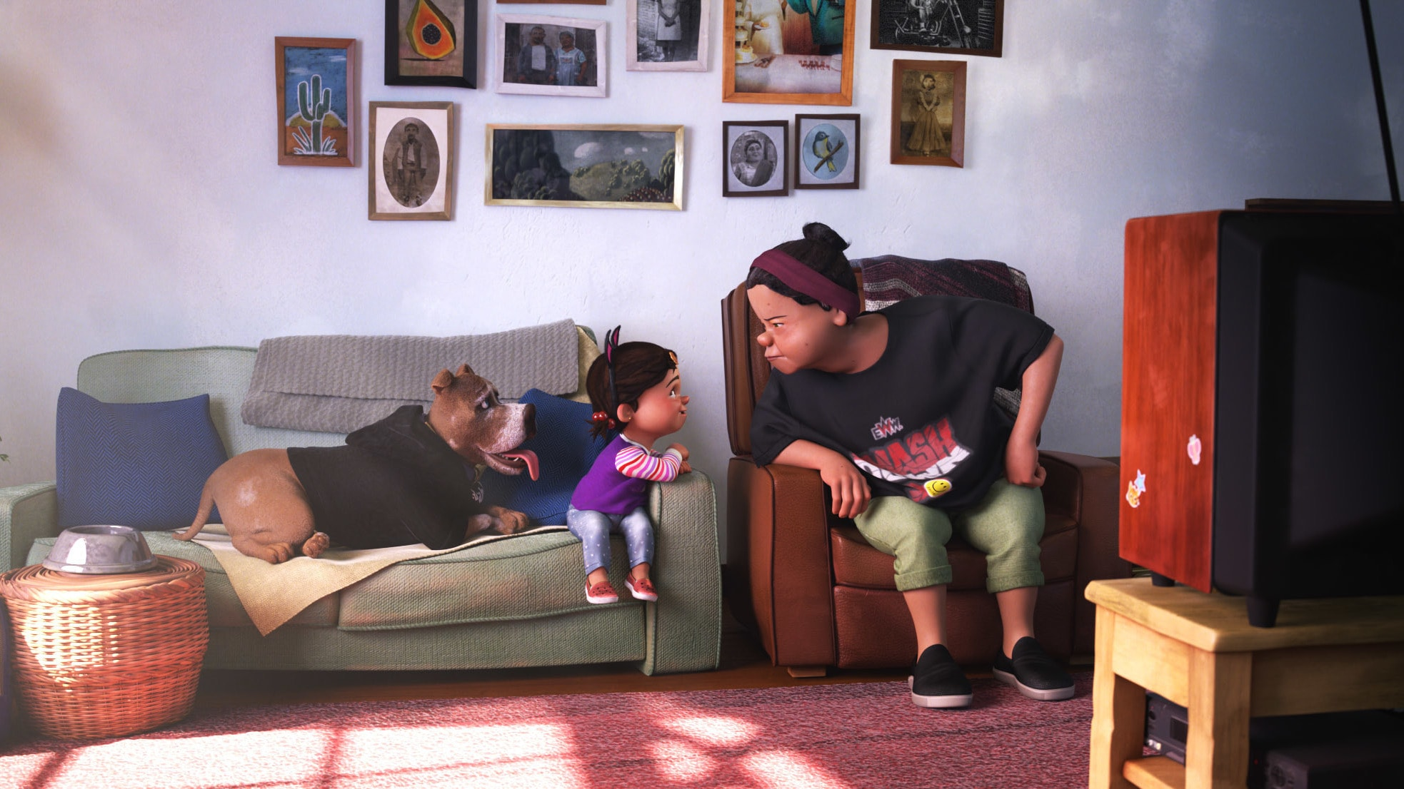 """In Pixar Animation Studios new SparkShort """"Nona,""""a grandmother's plan for a special day alone watching her favorite TV show, """"E.W.W. Smashdown Wrestling,"""" is upended by an unexpected visit from her granddaughter. Directed by Louis Gonzales and produced by Courtney Kent, """"Nona"""" launches on Disney+ on Sept. 17, 2021. © 2021 Disney/Pixar. All Rights Reserved."""