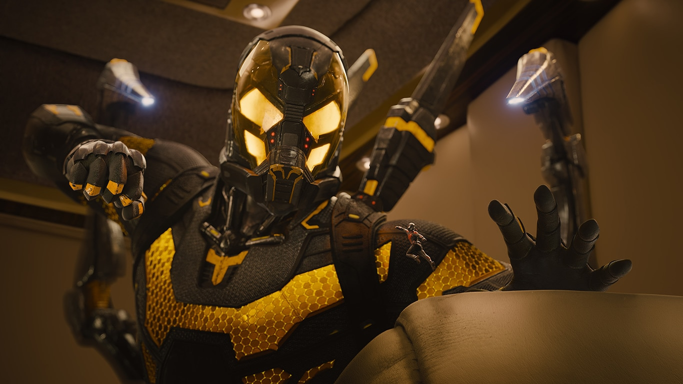 Yellowjacket punching at shrunken Ant-Man in the movie Ant-man