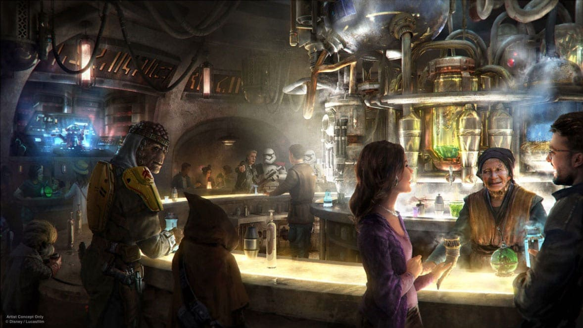 Concept art for Oga's Cantina at Star Wars: Galaxy's Edge