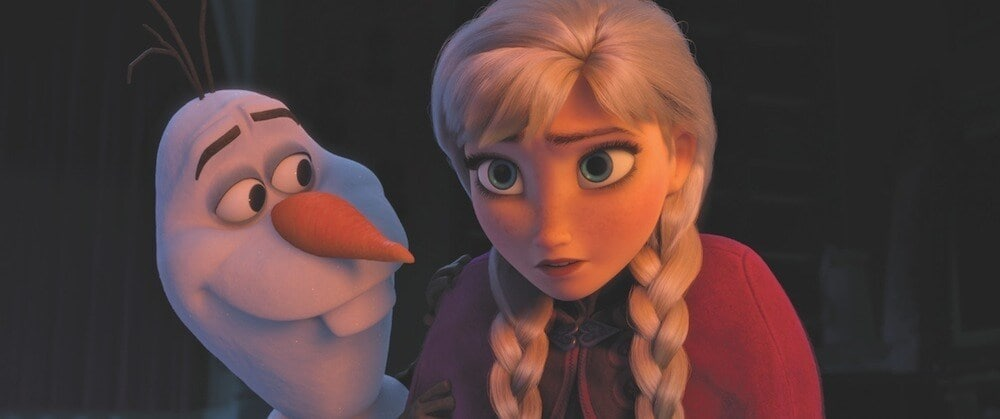 Animated characters Olaf and Anna