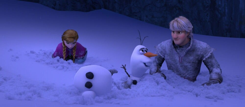 "Animated characters Olaf (snowman), Kristoff and Anna in the snow from the film ""Frozen"""