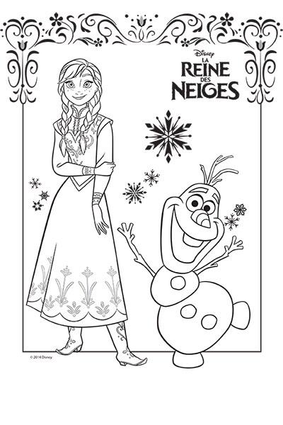 La Reine des Neiges - Coloriage Anna et Olaf