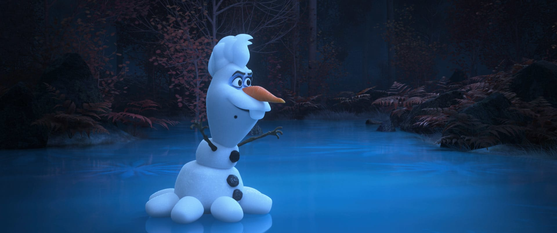 """In Walt Disney Animation Studios' new series of shorts """"Olaf Presents,"""" Olaf steps into the spotlight and goes from snowman to showman as he takes on the roles of producer, actor, costumer and set builder for his unique """"retelling"""" of five favorite Disney animated tales including """"The Little Mermaid."""" In the short, Olaf takes on diverse roles like the villainous Ursula, among others. Debuting exclusively on Disney+ Nov. 12, """"Olaf Presents"""" features the voice of Josh Gad as Olaf. Disney animator Hyrum Osmond directs, and Jennifer Newfield produces. © 2021 Disney. All Rights Reserved."""
