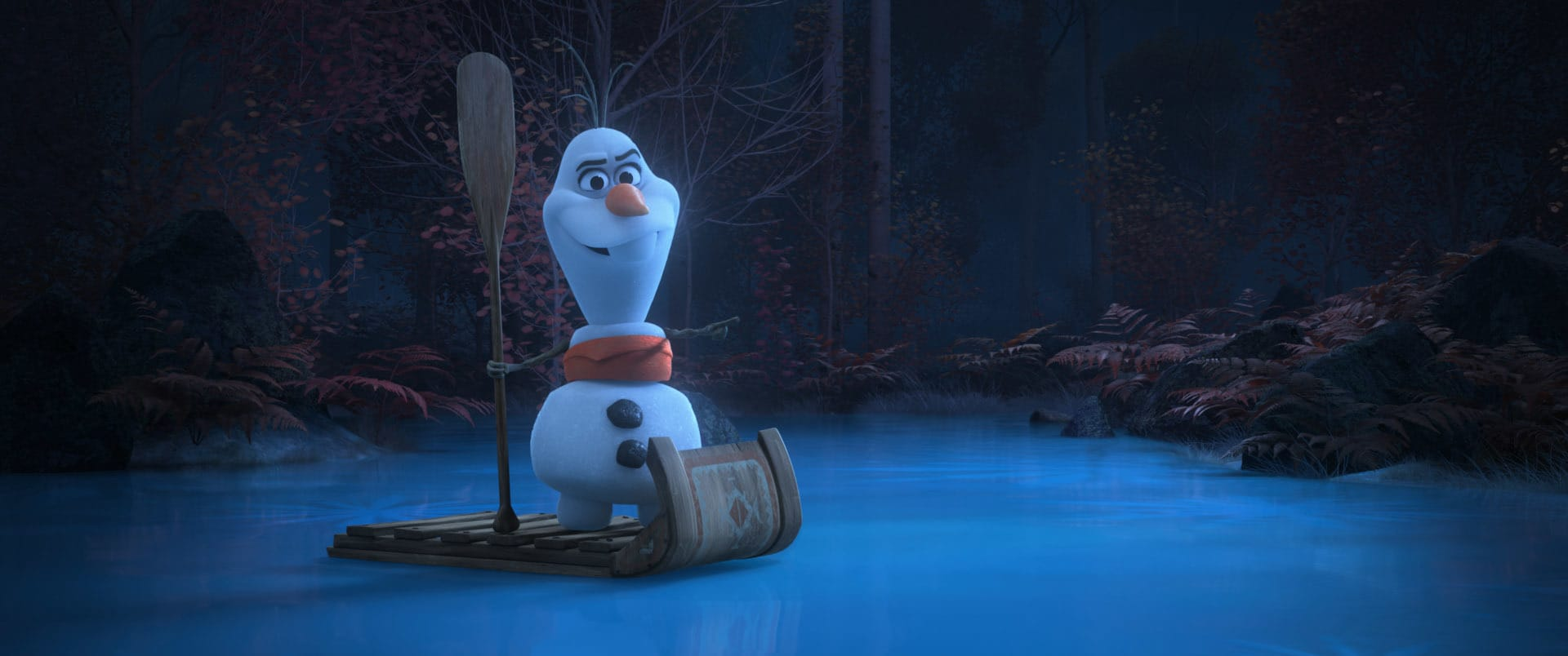 """In Walt Disney Animation Studios' new series of shorts """"Olaf Presents,"""" Olaf steps into the spotlight and goes from snowman to showman as he takes on the roles of producer, actor, costumer and set builder for his unique """"retelling"""" of five favorite Disney animated tales including """"Moana."""" In the short, the versatile snowman appears as Moana, among other characters. Debuting exclusively on Disney+ Nov. 12, """"Olaf Presents"""" features the voice of Josh Gad as Olaf. Disney animator Hyrum Osmond directs, and Jennifer Newfield produces. © 2021 Disney. All Rights Reserved."""