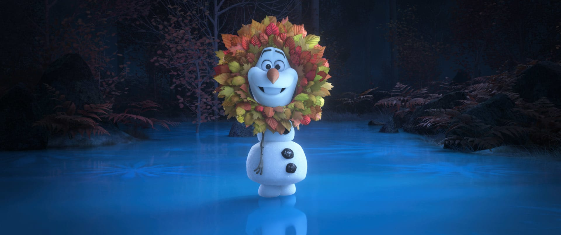 """In Walt Disney Animation Studios' new series of shorts """"Olaf Presents,"""" Olaf steps into the spotlight and goes from snowman to showman as he takes on the roles of producer, actor, costumer and set builder for his unique """"retelling"""" of five favorite Disney animated tales including 1994's Disney Animation classic """"The Lion King."""" In the short, Olaf stars in a variety of roles from Simba and Mufasa to both Pumbaa and Timon. Debuting exclusively on Disney+ Nov. 12, """"Olaf Presents"""" features the voice of Josh Gad as Olaf. Disney animator Hyrum Osmond directs, and Jennifer Newfield produces. © 2021 Disney. All Rights Reserved."""