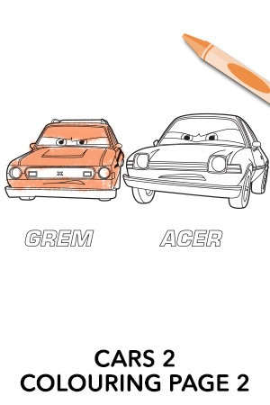 Cars 2 Colouring Page 2