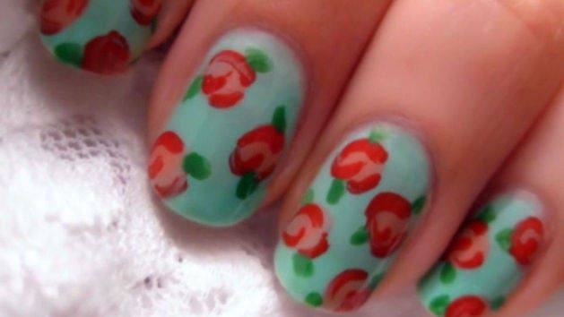 Vintage rose nail art disney video prinsesfo Image collections
