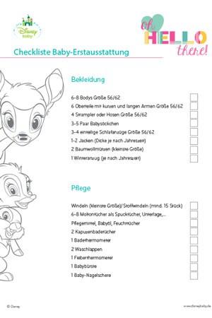 Checkliste Erstausstattung | Disney Baby DE