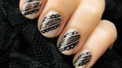 Easy Black Lace Nail Art