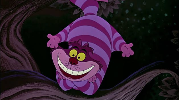 A Figure Of Cheshire Cat From Tim Burton S Film Alice In Wonderland On Display At Acmi