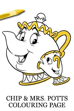 Chip & Mrs. Potts Colouring Page