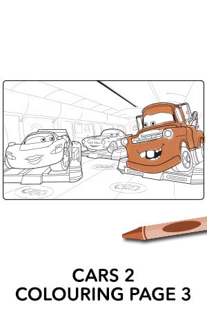Cars 2 Colouring Page 3