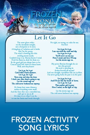 Frozen Song Lyrics Activity