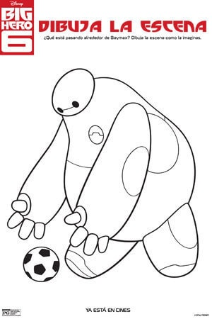 Baymax with Soccer Ball Coloring Page