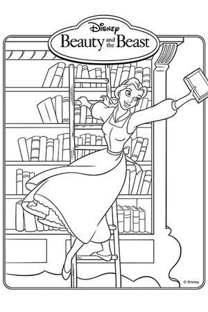 Belle Bookcase Colouring Page