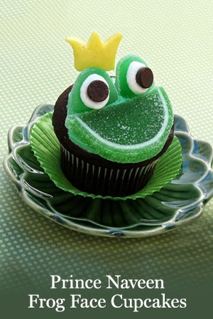Prince Naveen Frog Face Cupcakes