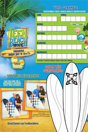 Teen Beach Movie Printable - Trayliner