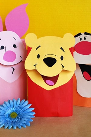 Pooh Bag Puppets