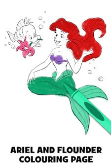 Ariel and Flounder Colouring Page