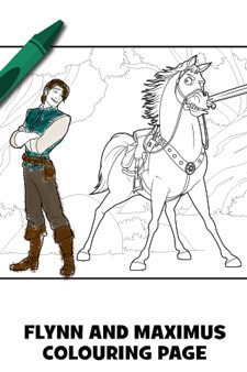 Flynn and Maximus Tangled Colouring Page