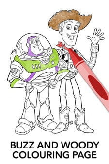 Buzz and Woody Colouring Page