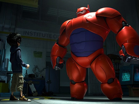 """Hiro (voiced by Ryan Potter) looking at Baymax (voiced by Scott Adsit) in red armor in the movie """"Big Hero 6"""""""